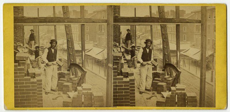 Robert Newell, American Mechanic, Arch Street below 8th, Philada., albumen print stereograph, ca. 1864.