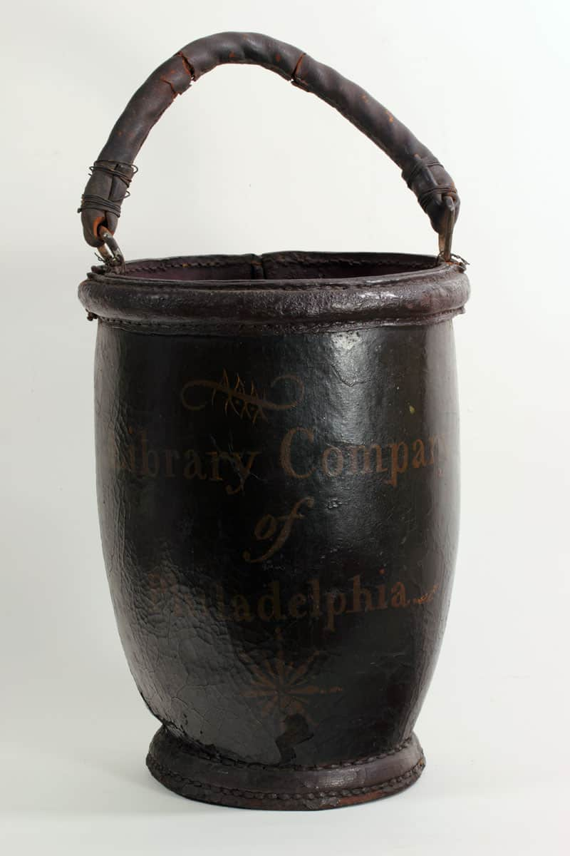Library Company Fire Bucket, 1797. Leather. Purchased by the Library Company, 1797.