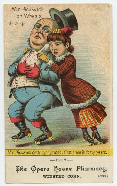 Trade card for The Opera House Pharmacy. (ca. 1890). Chromolithograph. Gift of William H. Helfand.