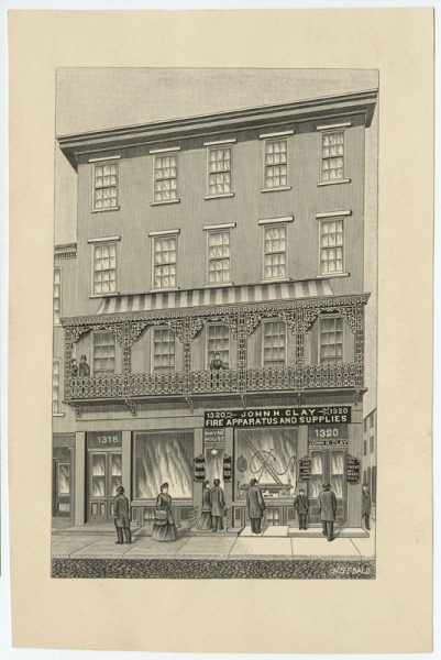 John H. Clay, Fire Apparatus and Supplies, 1320 Ridge Avenue, ca. 1880.