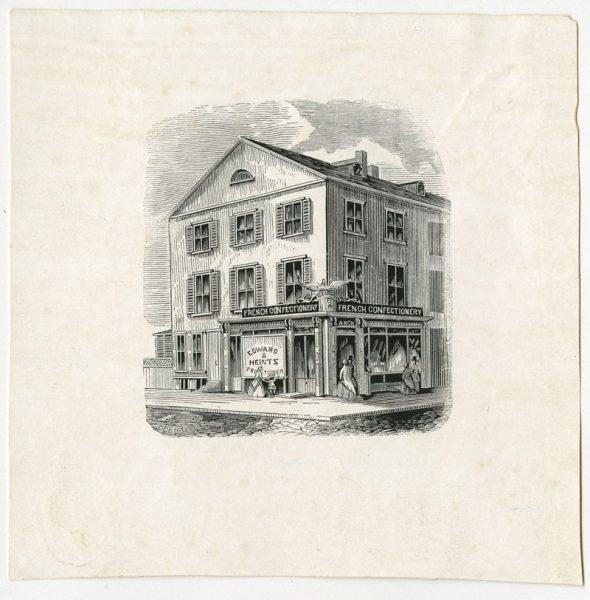 Edward Heintz French Confectionery, S.W. corner Ninth and Arch Streets, ca. 1860.