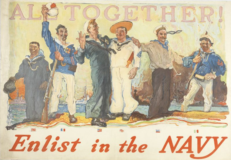 Henry Reuterdahl, All Together! Enlist in the Navy (United States, 1917).