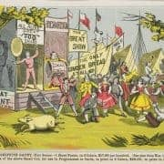Sample poster depicting an outdoor minstrel show, 1869. Specimen Book of Minstrel Designs for the Use of the Minstrel Profession (Philadelphia: Ledger Job Printing Office, 1869). Color electrotype.