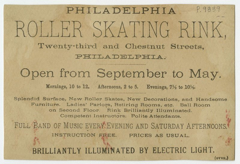 Verso of trade card for the Philadelphia Roller Skating Rink.