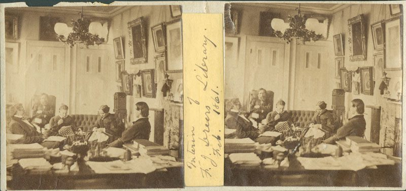 John Moran, [Library in Ferdinand J. Dreer Residence, 1520 Spruce Street, Philadelphia] (Philadelphia: John Moran, February 1861). Stereograph.