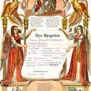Geburts und Taufschein [Baptism certificate] (Allentown, Pa.: Leisenring, Trexler and Company, ca. 1865) Color wood engraving.