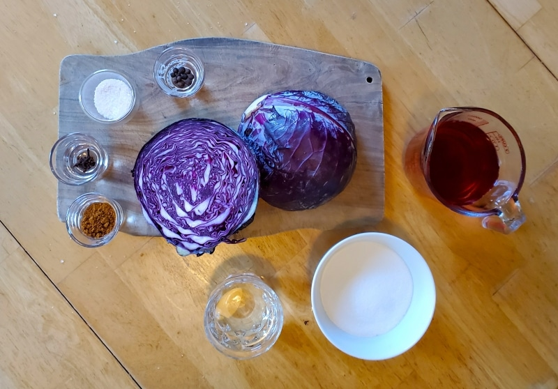 Ingredients for pickled red cabbage from The Larder Invaded