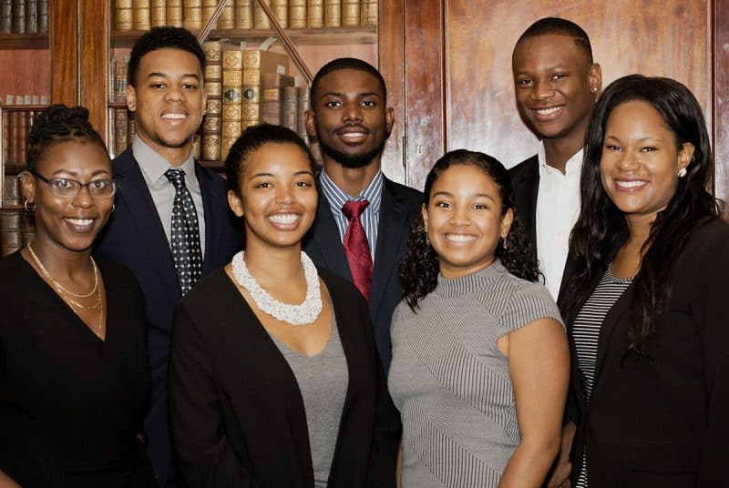 2017 Mellon Scholars. Back left to right: Andrew Aldridge, Nafeece Beeks, and Amos Tarley. Front left to right: Ashley Council, Camara Brown, Lucero Smith, and Abi Bernard