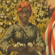 Print depicting an African American woman, holding cotton, next to an American flag.