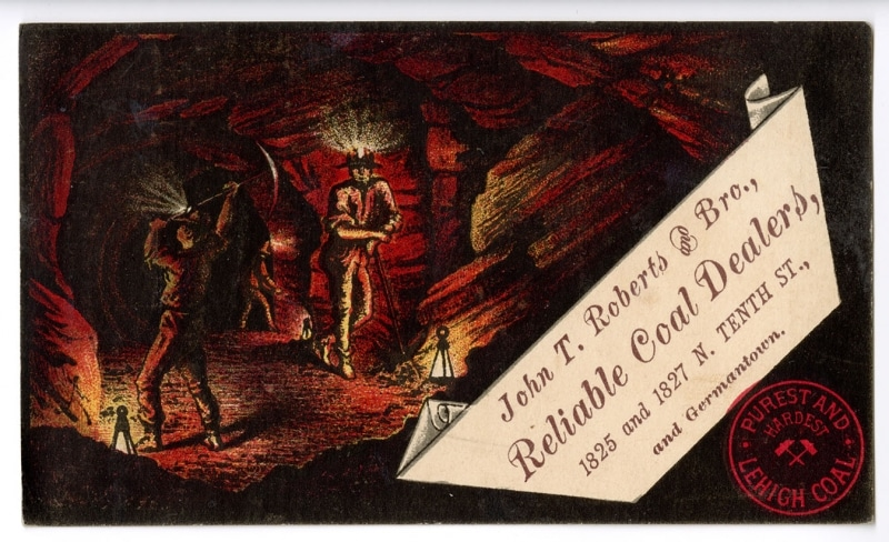 Postcard advertising Purest and Hardest Lehigh Coal