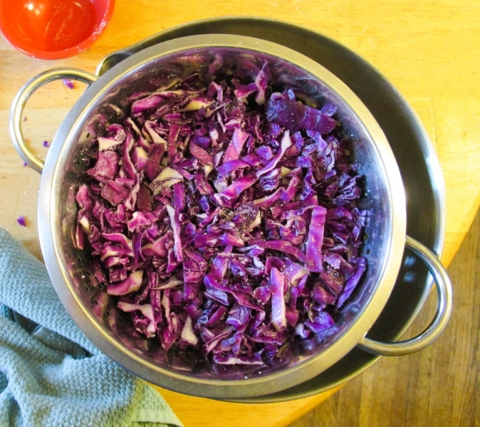 Shredded cabbage, salted and draining