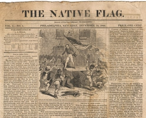 Detail from Vol. 1, no. 1 (December 14, 1844) of the Native Flag, a 2013 gift of Kenneth C. Trotter, Jr.