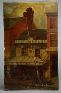 John Mackie Falconer. Robert Fulton House, Philadelphia, oil on board, signed JMF.