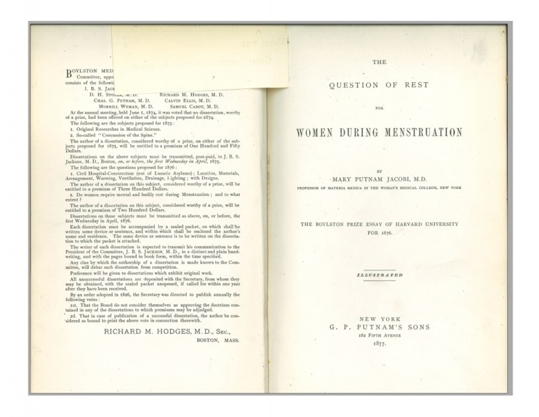 Title page from The Question of Rest for Women during Mensturation