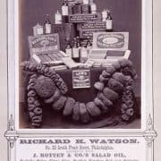 Display of various manufacturers' oil bottles, sponges, mustard and perfumed soaps. Wenderoth, Taylor & Brown, Richard H. Watson, No. 25 South Front Street, Philadelphia, Agency for J. Mottet & Co.'s Salad Oil, Rochelle Ochre, China Clay … (Philadelphia, 1871). Albumen print.