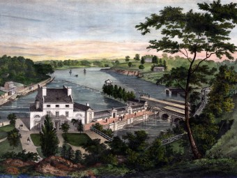 Print depicting Fairmount Park.