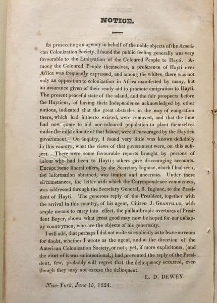 From Loring Daniel Dewey. Correspondence Relative to the Emigration to Hayti, of the Free People of Colour, in the United States (New York, 1824).