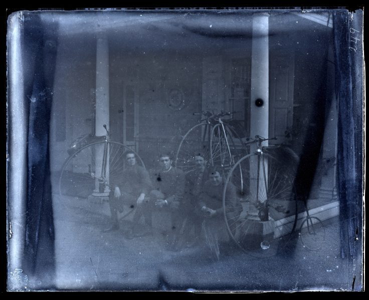 [Bicycle party. Herbert Morris, Horace Eugene Smith, Jedediah H. Adams & myself] [graphic].