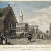 William Russell Birch, Second Street North from Market St. wth. Christ Church. Philadelphia (Philadelphia: W. Birch, [1828]), 4th ed., pl. 2. Hand-colored engraving.