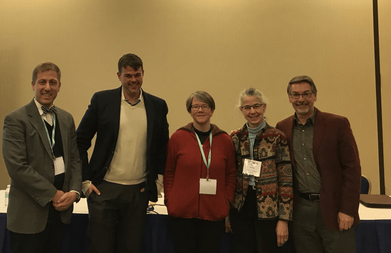 Panel on Outing the Early American Past (left to right, Thomas J. Balcerski, James T. Downs, Kate Culkin, Connie King, and Richard Godbeer, Chair)