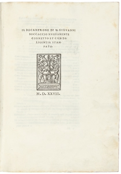 Title page from the 1527 Venice edition of Baccaccio's Decameron