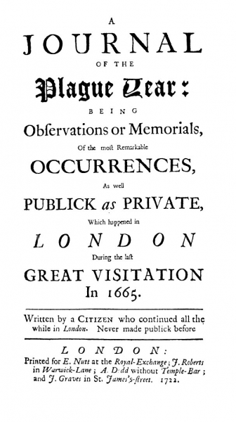 Title page of the original edition of Daniel Defoe's A Journal of the Plague Year