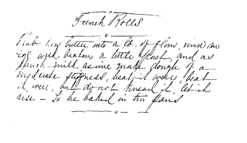 Handwritten recipe for french rolls.