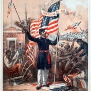 All Slaves were Made Freemen. By Abraham Lincoln, President of the United States, January 1st, 1863. Come, Then, Able-bodied Colored Men, to the Nearest United States Camp, and Fight for the Stars and Stripes ([Philadelphia: Philadelphia Supervisory Committee for Recruiting Colored Regiments, 1863]). Chromolithograph recruitment print.