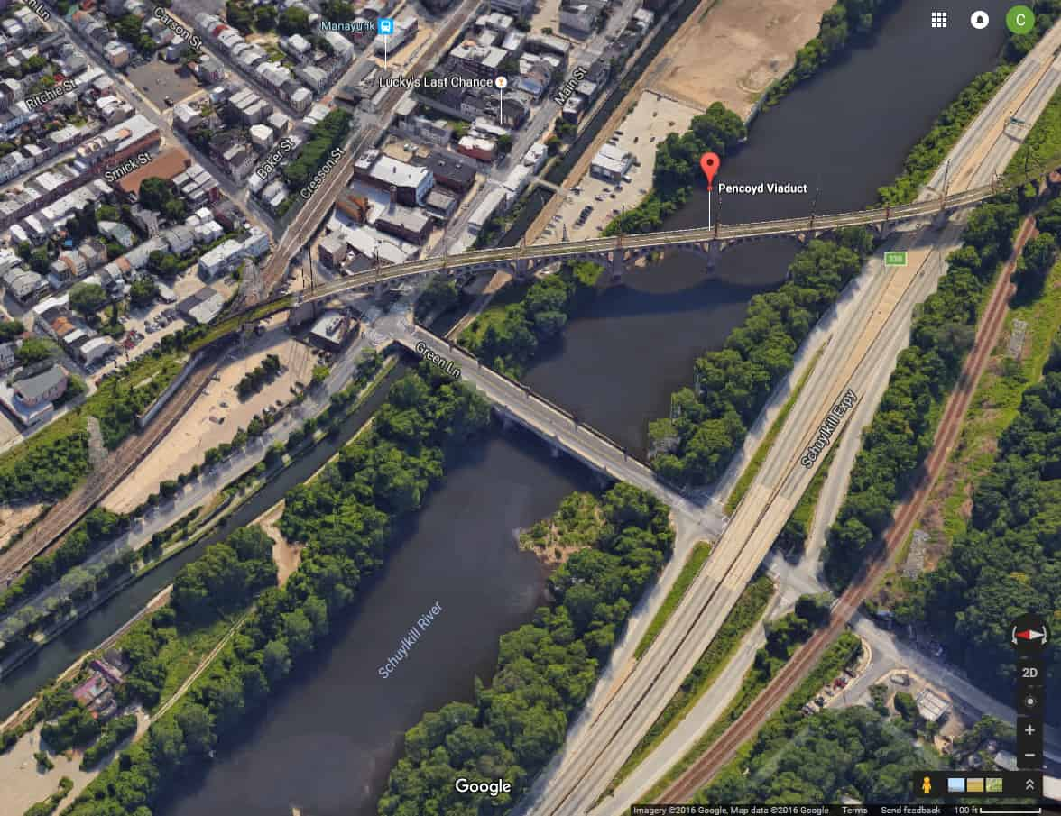 Google Maps view of the Pennsylvania Railroad and Manayunk Bridges captured October 11, 2016.