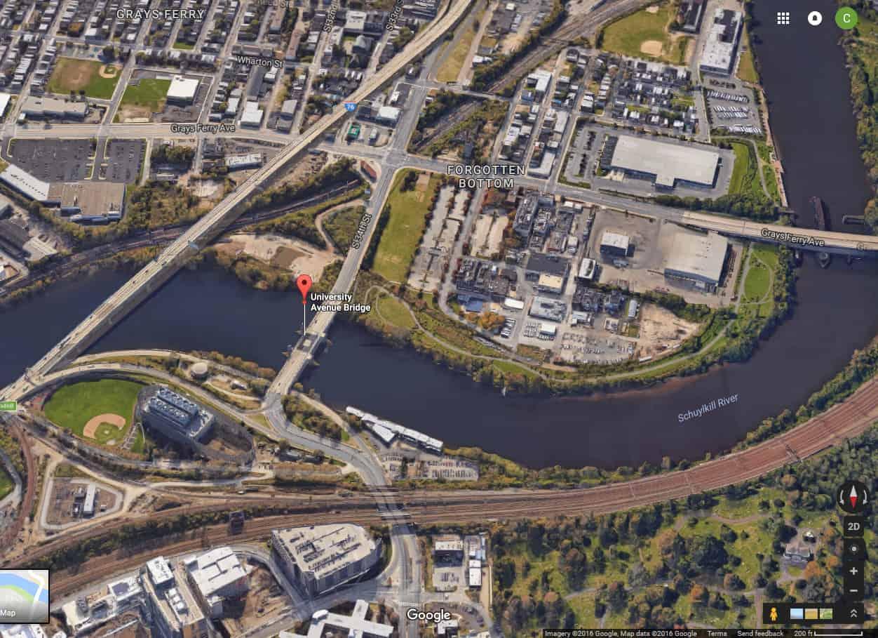 Google Maps view of the University Avenue Bridge captured October 11, 2016.