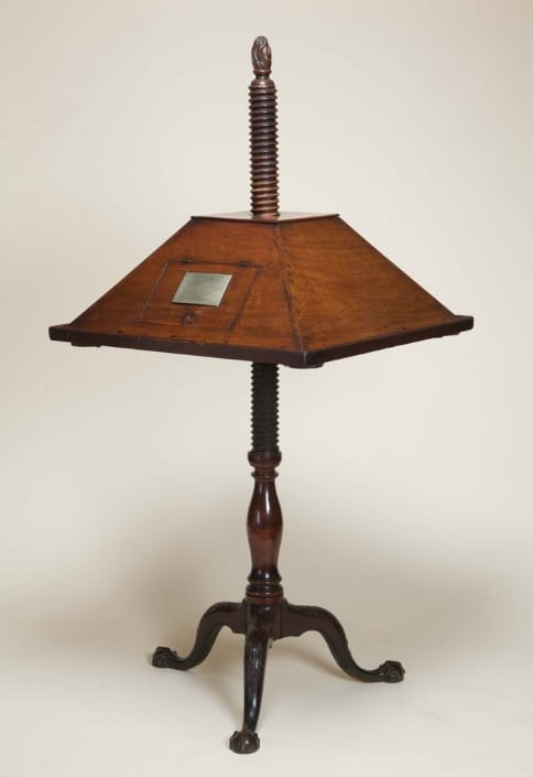 Reading and Writing Stand (Philadelphia, ca. 1770s). Gift of Albanus C. Logan, 1870. Owned by John Dickinson.