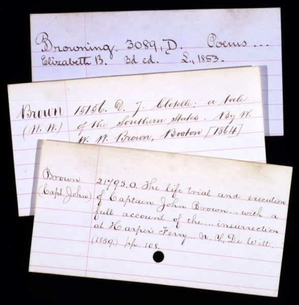 Handwritten cards from the original card catalog, 1876.