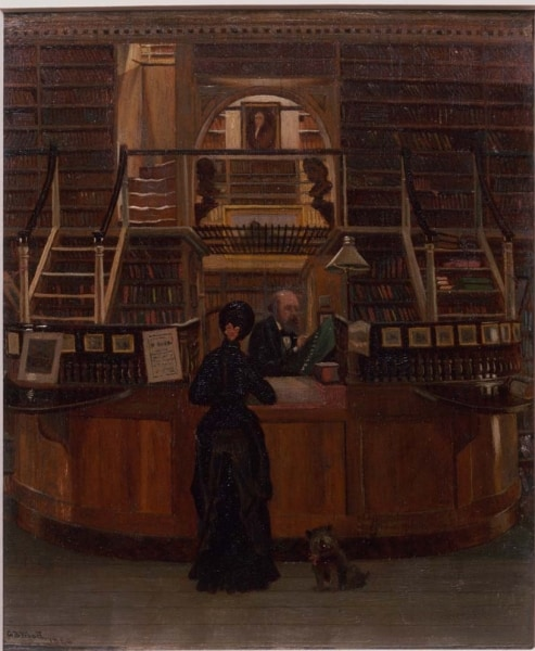 George Bacon Wood, Library Building on Fifth Street (Philadelphia, 1880). Lloyd Smith is behind the circulation desk attending to Library Company Shareholder Anne Hampton Brewster.