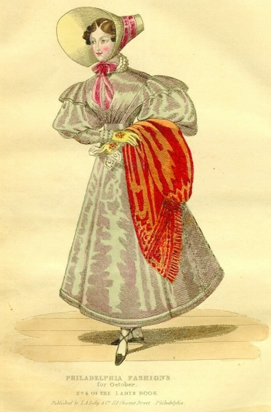 """Godey's Lady's Book. Vol. 1, no. 4, October, 1830. """"Large scarlet shawl of embroidered Canton crape."""""""