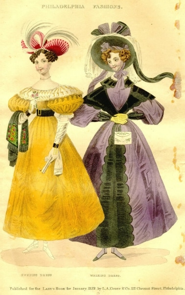 """Godey's Lady's Book. Vol. 4, no. 1, January, 1832. """"Black Canton crape shawl, embroidered with Flowers in bright colours."""""""