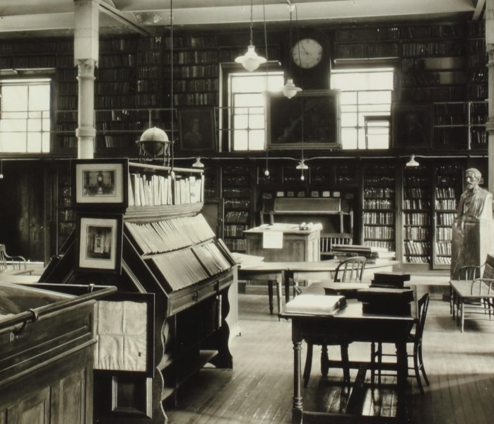 Interior of the Reading Room in the Library Company's Juniper Street Building, early 20th century. Gelatin silver print