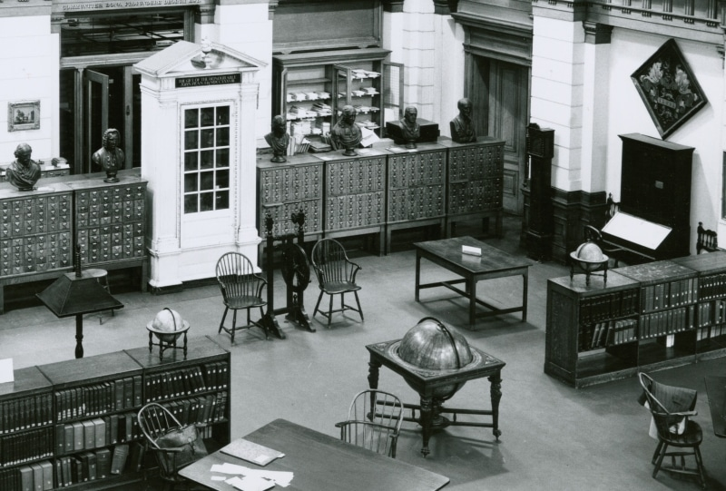 Interior of the Reading Room in the Library Company's Ridgway Building, ca. 1940. Gelatin silver print.