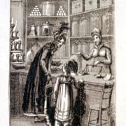 Engraving featuring a confectioner at work as a girl and woman converse. The Book of English Trades, and Library of the Useful Arts (London: Richard Phillips, J. Souter, 1818). Engraving.