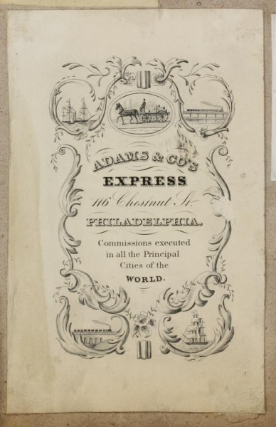 Label for the Philadelphia branch (est. circa 1843) of the rail express service company started by Alvin Adams of Boston in 1840. Contains an ornate border and vignettes. Vignettes depict a horse-drawn delivery wagon transporting several crates; sailing ships; and traveling railroad trains. Border details include filigree and flowers.