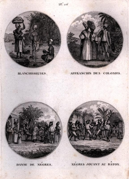 Four scenes of free and enslaved people in St Domingue.
