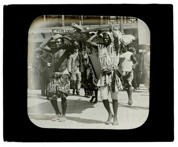 Marriott Canby Morris, Midway Plaisance-Dahomans, 1893. Lantern slide.