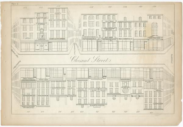 Plate depicts section of the 300 block of Chestnut Street circa 1851.