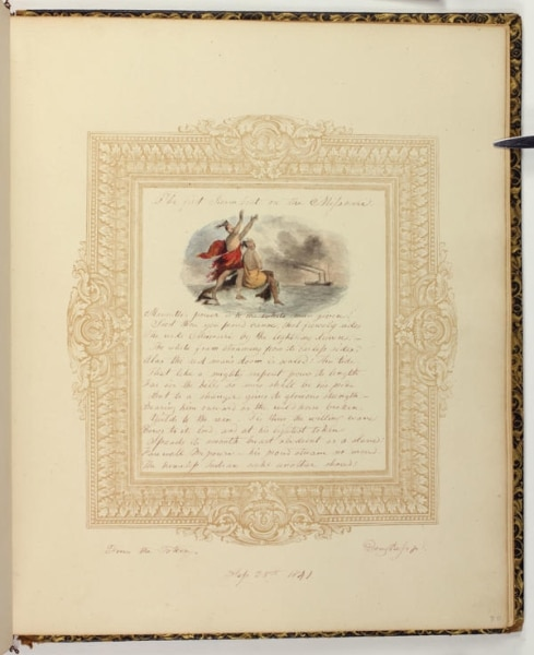Page from album belonging to Martina Dickinson featuring a watercolor by Robert Douglass. 1840-1846. Ink, gouache, watercolor, and graphite.