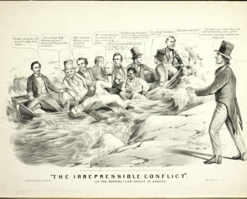 """The Irrepressible Conflict"" or the Republican Barge in Danger (New York: Currier & Ives, ca. 1860). Lithograph."