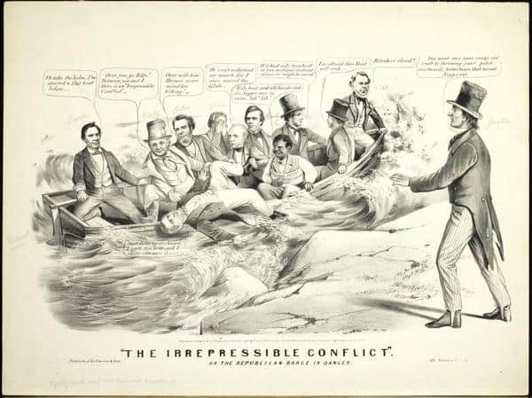 """""""The Irrepressible Conflict"""" or the Republican Barge in Danger (New York: Currier & Ives, ca. 1860). Lithograph."""