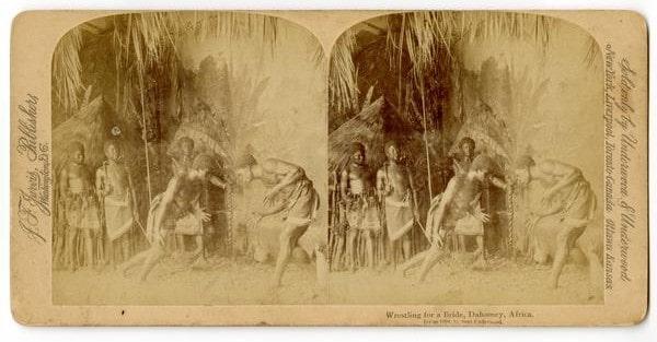 John Fillis Jarvis, Wrestling for a Bride, Dahomey Africa (Washington, D.C.: J. F. Jarvis, ca. 1894). Albumen on card mount (stereograph format). Gift of John Serembus.