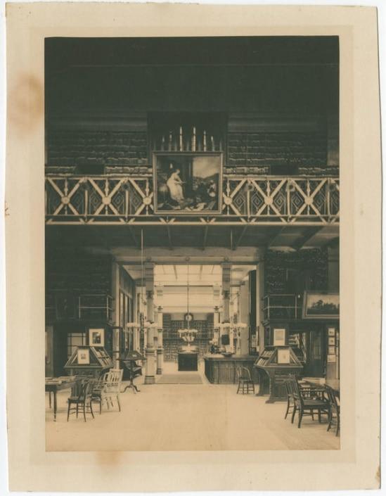 Interior of Library Company of Philadelphia, Locust Street Branch, ca. 1885. Platinum print in Library Company of Philadelphia scrapbook, ca. 1865-ca. 1971.
