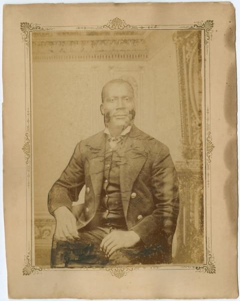 [Unidentified African American Man], ca. 1875. Albumen mounted on cardboard.