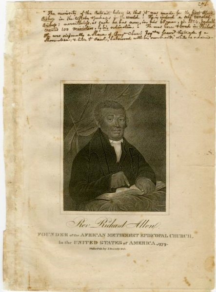 Rev. Richard Allen, founder of the American Methodist Episcopal Church, in the United States of America, 1779.