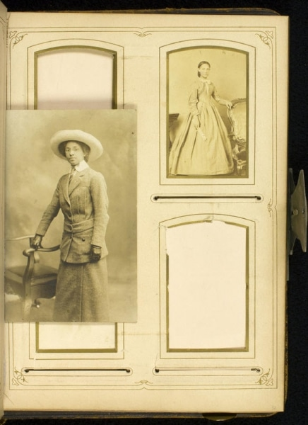 Portrait photograph of Louise Sanders Venning inserted before page 32 of Stevens-Cogdell/Sanders-Venning Family Photograph Album, ca. 1860-1925.